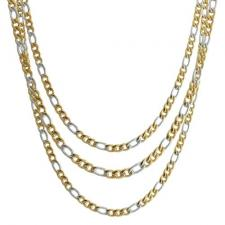 Two-Tone Stainless Steel Figaro Chain