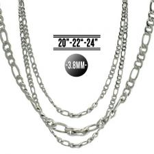 Silver Tone Stainless Steel Figaro Chain
