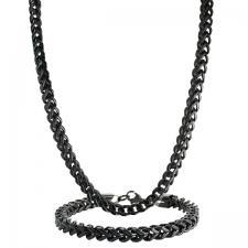 Stainless Steel Black PVD Franco Chain & Bracelet Set