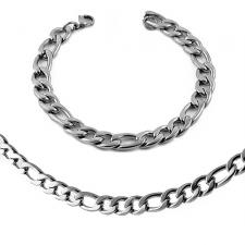 Stainless Steel Necklace (2 in) and Bracelet (9 in) SET Figaro Type Chain