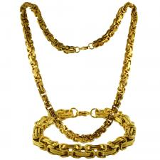 Gold PVD Coated Byzantine Box Chain & Bracelet Set