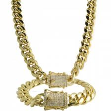 Stainless Steel Gold PVD Cuban Link Necklace and Bracelet Set with CZ Stones