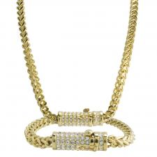 Gold Franco Necklace and Bracelet Set with CZ Stones