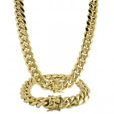 Gold PVD Stainless Steel Miami Cuban Link Necklace and Bracelet Set
