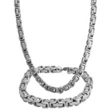 Stainless Steel Byzantine Box Chain (23.5 in) and Bracelet (8.75 in.) Set - 6mm Wide