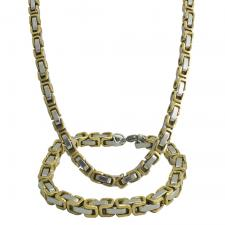 Stainless Steel and Gold PVD Single Box Byzantine Chain and Bracelet Set - 5MM Wide