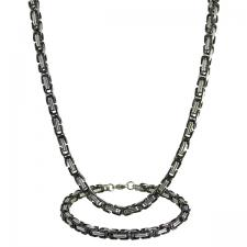 Stainless Steel and Black PVD Byzantine Box Chain (24 in) and Bracelet (8.75 in.) Set - 5mm Wide