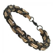 Stainless Steel Byzantine Bracelet in Black and Rose Gold