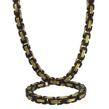 Stainless Steel Gold & Black PVD Byzantine Necklace Set