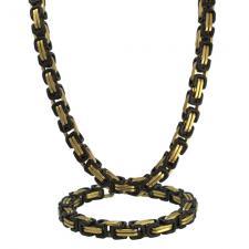 Stainless Steel Gold & Black PVD Byzantine Necklace Set