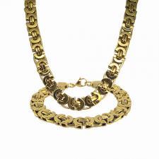 Stainless Steel Flat Gold Byzantine Necklace / Bracelet Set