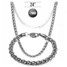 Chain and Necklace Set In Stainless Steel