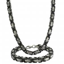Black And Steel Byzantine Necklace & Bracelet Set