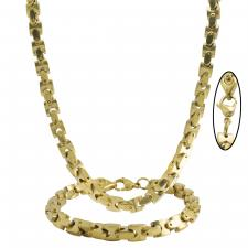 Men's Stainless Steel Gold PVD Flat Mariner Box Curb Necklace Set