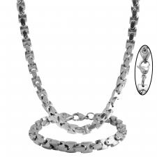 Men's Stainless Steel Flat Mariner Box Curb Necklace Set