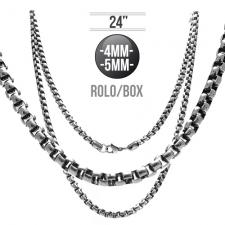 Curved Box Link Chain in Stainless Steel