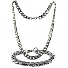 Stainless Steel Curb Link Chain & Bracelet Set