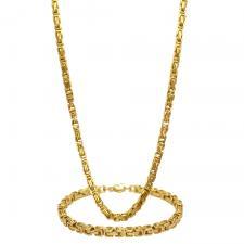 Gold PVD Byzantine Necklace and Bracelet Set 5MM