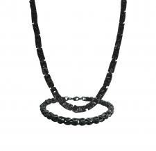 Stainless Steel Black PVD Byzantine Necklace & Bracelet Set