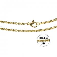 Stainless Steel Gold PVD Rolo Chain Necklace