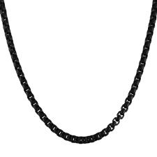 Men's Black PVD Rounded Box Link Necklace