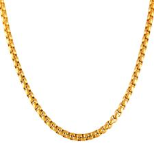 Stainless Steel Gold PVD Rounded Box Link Necklace 3mm