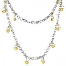 Stainless Steel Rolo Necklace With Hanging Gold PVD Beads - 24