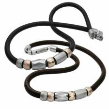 Natural Leather Necklace with Tungsten, Steel, and Rose Gold PVD Beads