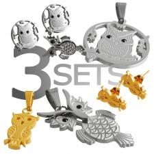 stainless steel owl earring and pendants