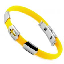 Stainless Steel And Yellow Rubber Bracelet With Cross Cut Out