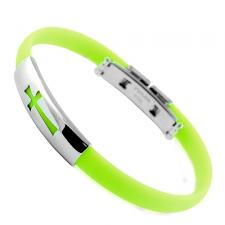 Light Green Rubber And Stainless Steel Bracelet With Cross Cut Out Design