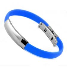 Stainless Steel And Light Blue Rubber ID Bracelet