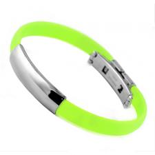 Stainless Steel And Light Green Rubber ID Bracelet