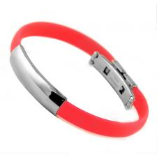 Coral Colored Rubber Bracelet With Stainless Steel ID Plate