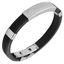 Black Rubber Bracelet with Stainless Steel ID Plate and Greek Design