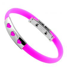 Stainless Steel And Rubber Bracelet with Hearts