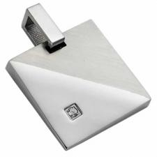 Stainless Steel Square shaped pendant with a CZ