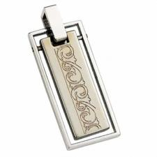Stainless Steel Moveable Pendant With Etched Design