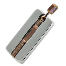 Gorgeous Rectangular Coffee PVD And Stainless Steel Pendant With EKG Laser Design
