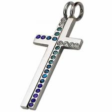 Stainless Steel Jeweled Cross - 2 parts