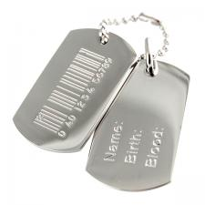 Stainless Steel Dog Tag with SKU Number and Engraveable Name, Date of Birth and Blood Type