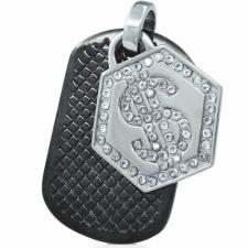 HUGE Black PVD Pendant with Textured Dog Tag and Stainless Steel Crystal Dollar Sign