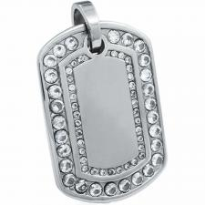 Double Crystal Lined Stainless Steel Dog Tag Pendant. HUGE! Almost 3