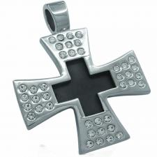 Stainless Steel Maltesse Cross Pendant with Black Enamel Center and Surrounding CZ Stones