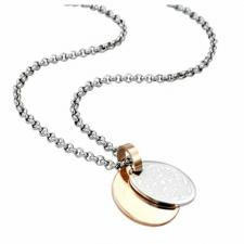 Gorgeous Stainless Steel with Gold PVD Double Pendant with Filligree Design