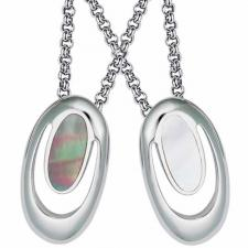 Gorgeous Stainless Steel with Mother Of Pearl Pendant - Natural Light or Dark