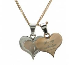 Stainless Steel Rose Gold Double Heart Pendant w/ Necklace
