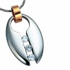 Jeweled Stainless Steel Pendant