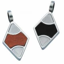 Gorgeous Stainless Steel with Leather Diamond Shaped Pendant