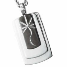 Stainless Steel Pendant With Black PVD and Etched Marijuana Leaf Design